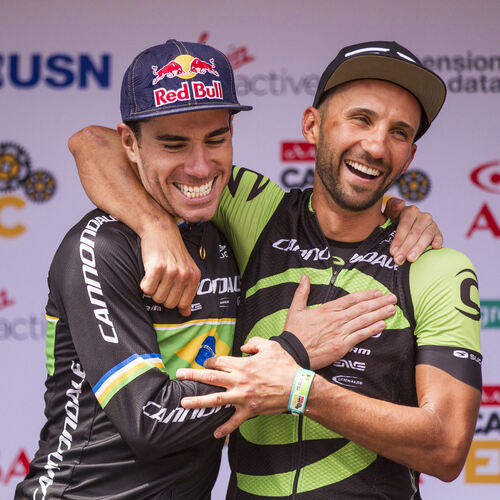 Henrique Avancini and Manuel Fumic of Cannonade Factory Racing win stage 1 of the 2017 Absa Cape Epic Mountain Bike stage race h