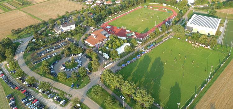 Das Turniergelände von oben: Anders als 2014 gibt es dieses Mal links der Egelsbergstraße keine Parkmöglichkeiten für die Besucher.Foto: Bernd Stelzer