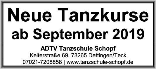 Neue Tanzkurse ab September 2019